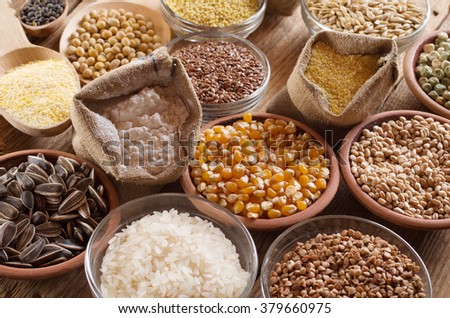 Cereal grains , seeds, beans - stock photo