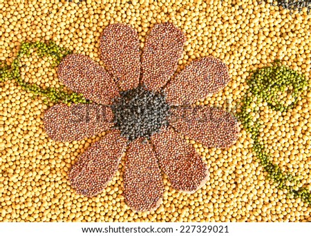 Cereal Grains , Seeds, Beans background - stock photo