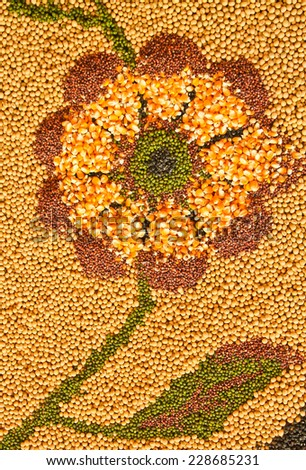 Cereal Grains , Seeds, Beans background in the shape of a flower. - stock photo