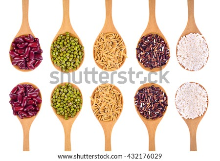 Cereal Grains , Seeds,Beans , isolated on white background
