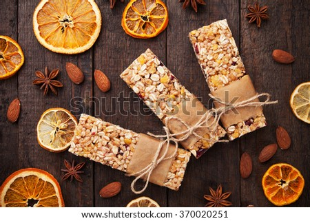 Cereal granola bars with dried fruit and nuts - stock photo