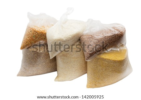 cereal in a plastic bag - stock photo