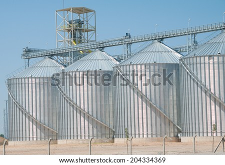Cereal silos - stock photo