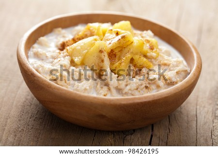 cereal with caramelized apple - stock photo