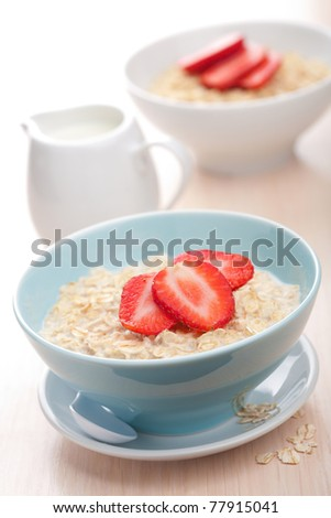 cereal with fresh strawberry - stock photo