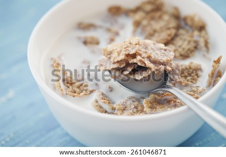 Cereal With Milk For Breakfast - stock photo