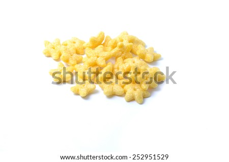 Cereal with star shape on white background - stock photo