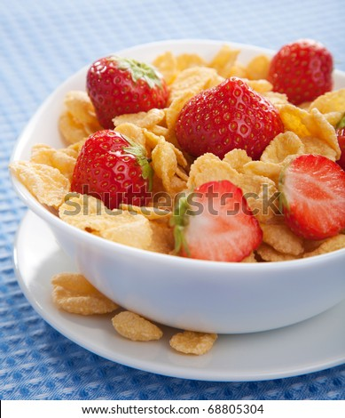 cereal with strawberry - stock photo