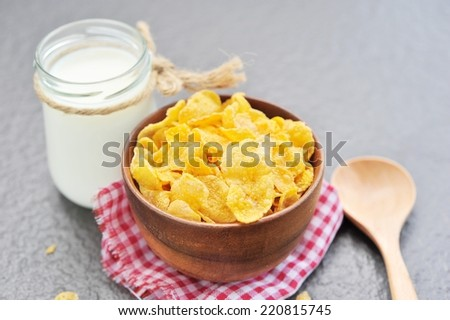 cereals and milk. - stock photo