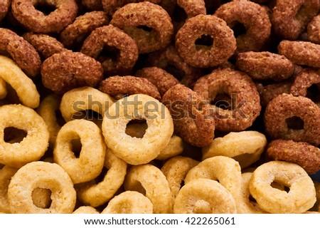 Cereals breakfast. Corn rings macro. - stock photo