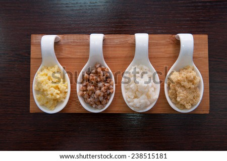 Cereals - buckwheat, rice, millet and wheat groats