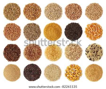 Cereals collection isolated on white background - stock photo