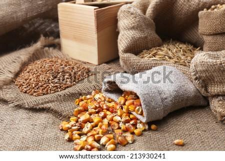 Cereals in sacks - stock photo