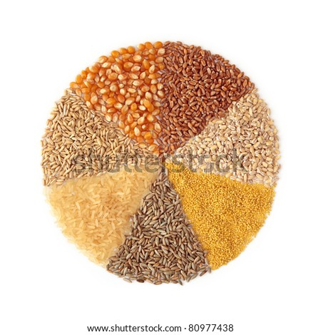 Cereals - maize ,wheat, barley, millet, rye, rice and oats - stock photo
