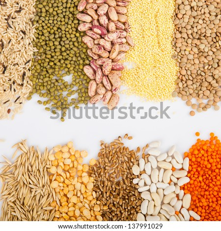Cereals, seeds, beans - border on white background