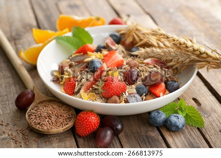 Cereals with fresh fruits - stock photo