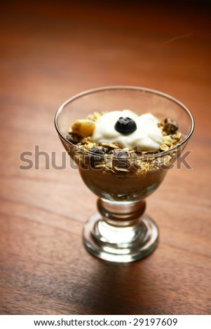Cereals with yogurt and fruits