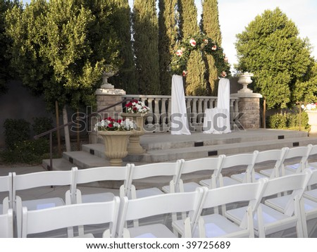 Ceremonial Altar with Rows of Guests Seats