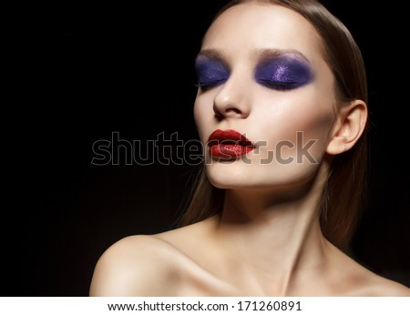 Ceremonial makeup. Fashion portrait