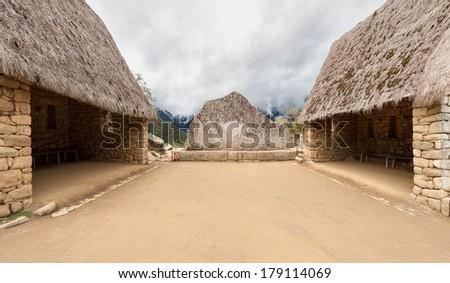 Ceremonial Rock of Machu Picchu, Cuzco, Peru - stock photo