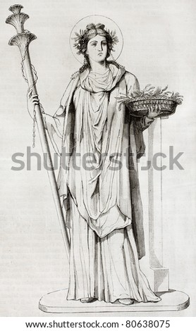 Ceres, the Roman goddess of agriculture. After painting found in Pompeii, reproduced on table XXXV, vol. IX of Royal Bourbon Museum, Naples, Italy. Published on Magasin Pittoresque, Paris, 1850 - stock photo