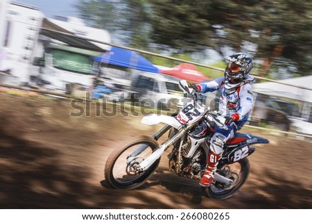 Ceriano Laghetto (Italy) - April 10, 2011 - Held at the motocross track Ceriano Laghetto, the 2nd Regional Championship Motocross 2011, valid for categories MX1 and MX2. - stock photo