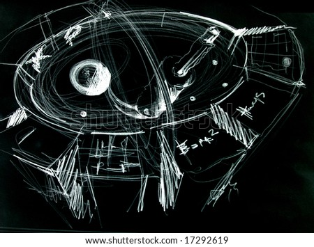 cern experiment abstract hand draw - stock photo