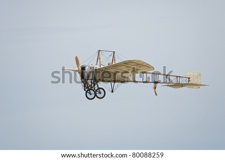 "CERNY LA FERTE ALAIS, FRANCE - JUNE 12: Bleriot flying at Aerial Meeting ""The propeller era"" in Cerny La Ferte Alais, France on June 12, 2011 - stock photo"