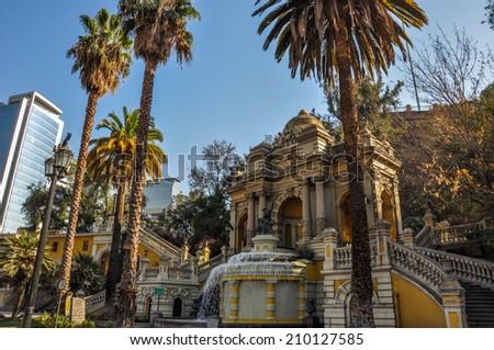 Cerro Santa Lucia in Downtown Santiago, Chile. - stock photo