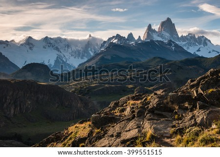 Cerro Torre and Fitz Roy panorama in Southern Patagonia, Argentina