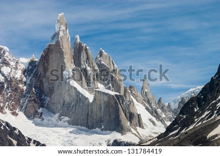 Cerro Torre at perfect weather no clouds horizontal