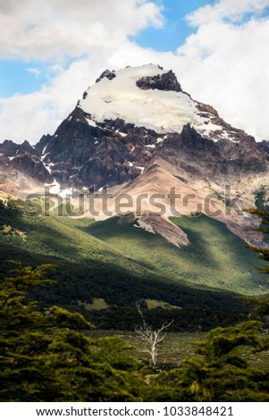 Cerro Torre from the Argentine Patagonia region. The mountain stand alone with its glacier ice