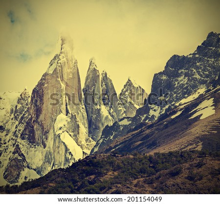 Cerro Torre Mountain in Los Glaciares National Park, Patagonia, Argentina, vintage retro filtered. - stock photo