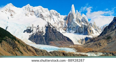 Cerro Torre mountain panorama in Los Glaciares National Park, Patagonia, Argentina, South America - stock photo