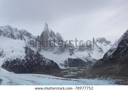 Cerro-Torre peaks sunrise - stock photo