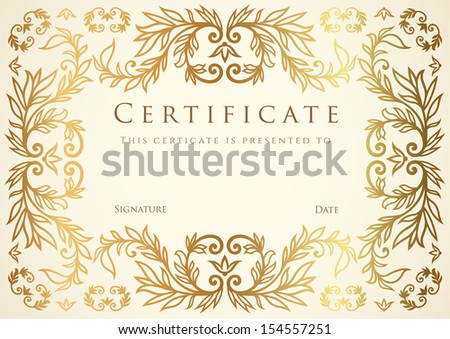 Certificate diploma completion golden design template stock vector certificate diploma of completion design template background gold floral scroll yadclub Gallery
