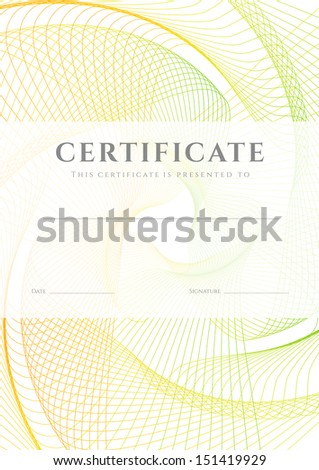 Certificate, Diploma of completion (design template, background) with colorful guilloche pattern (watermark), frame. Useful for: Certificate of Achievement, awards, winner.