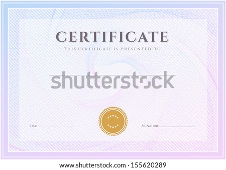 Certificate, Diploma of completion (design template, background) with guilloche pattern (watermark), border, frame. Green Certificate of Achievement, Certificate of education, coupon, awards, winner - stock photo