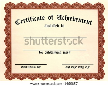 Certificate of Achievement. Customizable! Fill in the blanks! - stock photo