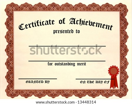 Certificate of Achievement - fill in the blanks - stock photo
