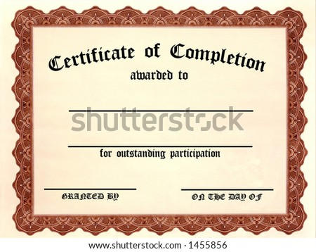 Certificate of Completion. Customizable - Fill in the blanks! - stock photo