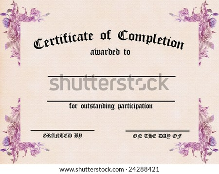 Certificate of Completion - Textured Parchment with Floral Pattern - customizable - stock photo