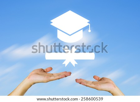 Certificate sign in hand with blue sky background. - stock photo