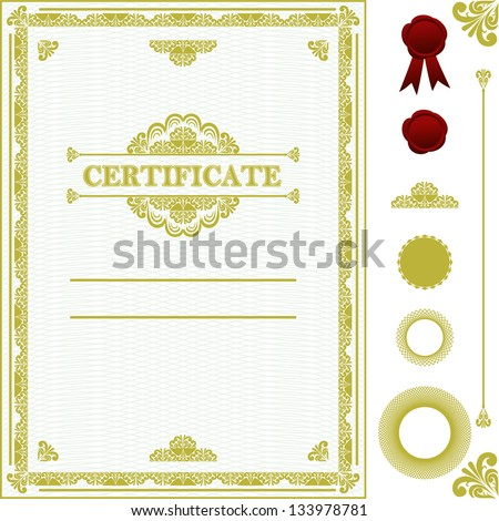 Certificate template. Raster version. - stock photo