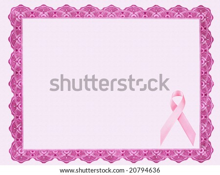 Certificate with Pink Ribbon - stock photo