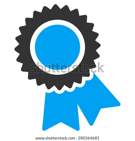 Certification icon from Competition & Success Bicolor Icon Set. This isolated flat symbol uses modern corporation light blue and gray colors. - stock photo