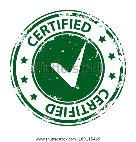 Certified green rubber stamp with tick icon isolated on white background. Illustration - stock photo
