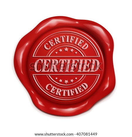 certified red wax seal over white background - stock photo