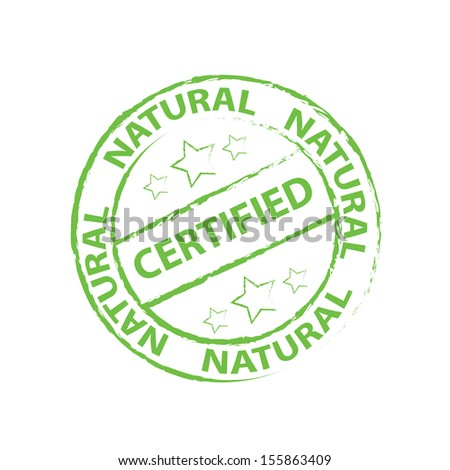 Certified Rubber stamp, sticker, tag, icon, symbol with green color, isolated on white background - jpg format.