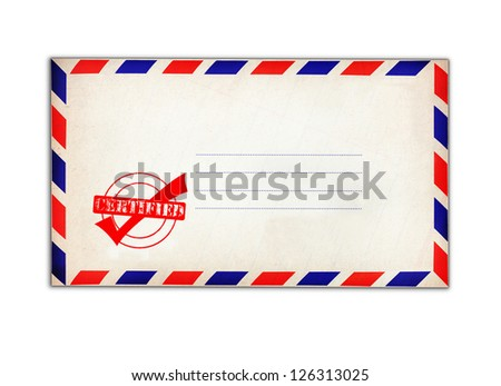 Certified stamp on white envelope isolated on white background.